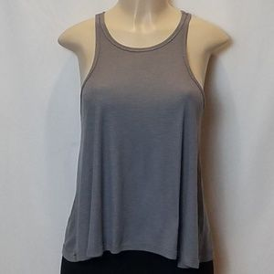 Free People Gray Ribbed Racerback Tank